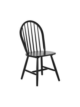 Sedia in legno Jonas in design Windsor, 2 pz., Legno di caucciù verniciato, Nero, Larg. 46 x Prof. 51 cm