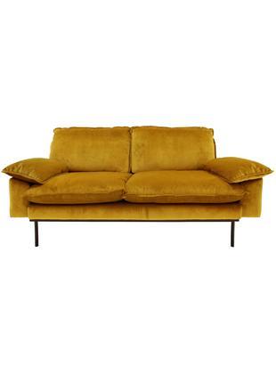 Samt-Sofa Retro (2-Sitzer), Bezug: Polyestersamt 86.000 Sche, Korpus: Mitteldichte Holzfaserpla, Füße: Metall, pulverbeschichtet, Samt Ocker, B 175 x T 83 cm