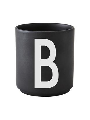 Beker Personal (varianten van A tot Z), Fine Bone China, Mat zwart, wit, Beker B