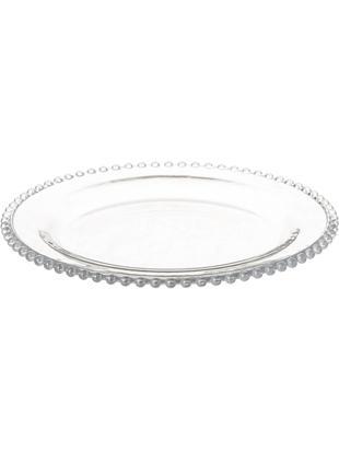 Piatto da dessert Perles, 2 pz., Vetro, Trasparente, Ø 21 cm