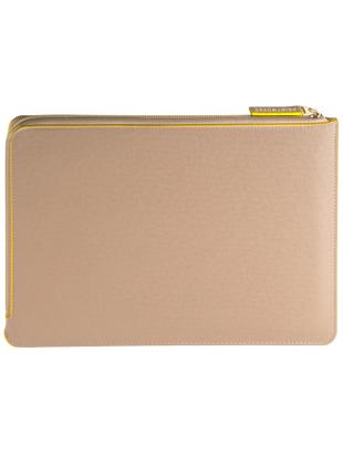 Laptophülle Elegance für MacBook Pro 15 Zoll, Kunstleder, Beige, Gelb, 38 x 27 cm