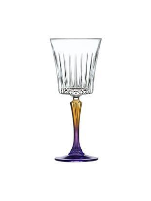 Copas de vino blanco de cristal Gipsy, 6uds., CristalLuxion, Transparente, oro amarillo, lila, Ø 9 x Al 21 cm