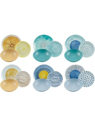 Set di piatti con motivi diversi Marea, 6 persone (18 pezzi), Porcellana, terracotta, Blu, bianco, giallo, Diverse dimensioni