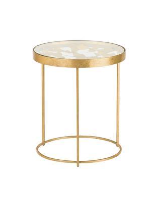 Tavolino con piano in vetro Butterfly, Piano d'appoggio: vetro, Struttura: metallo, rivestito, Dorato, Ø 45 x Alt. 52 cm