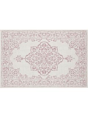 In- und Outdoorteppich Tilos im Vintage Look, Polypropylen, Creme, Rosa, B 80 x L 150 cm (Größe XS)