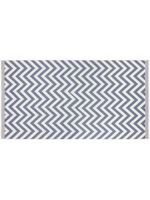In- und Outdoorteppich Palma mit Zickzack-Muster, beidseitig verwendbar, Blau, Creme, B 80 x L 150 cm (Größe XS)
