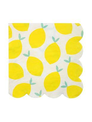 Serwetka z papieru Lemon, 20 szt., Papier, Biały, żółty, zielony, S 33 x D 33 cm