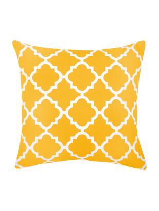 Kissenhülle Lana mit grafischem Muster, Baumwolle, Gelb, Weiß, 45 x 45 cm