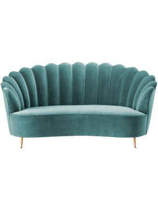 Sofa z aksamitu Messina (2-osobowa), Tapicerka: 95% poliester, 5% aksamit, Nogi: stal szlachetna , powleka, Turkusowy, S 180 x G 95 cm