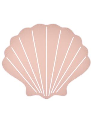 Strandtuch Shelly in Muschelform, 55% Polyester, 45% Baumwolle Sehr leichte Qualität 340 g/m², Rosa, Weiß, 150 x 130 cm