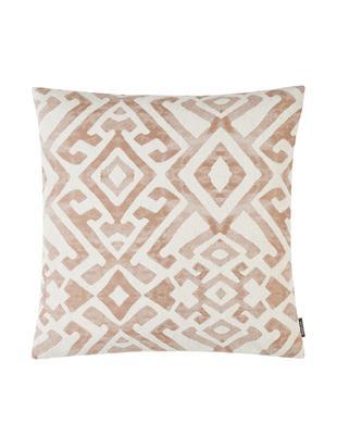 Poszewka na poduszkę z efektem sprania etno Elani, 65%poliester, 25%wiskoza, 10%len, Kremowy, brązowy, S 40 x D 40 cm