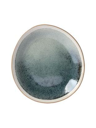 Piatto da colazione artigianale anni '70, 2 pz., Ceramica, Verde, crema, Ø 22 cm