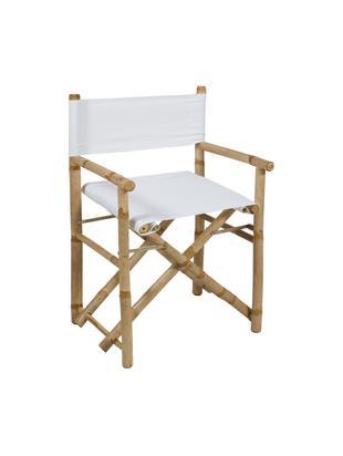 Inklapbaar bamboe regisseursstoel Limboo, Frame: bamboe, Zitvlak: polyester, Bamboehoutkleurig, wit, B 58 x D 45 cm