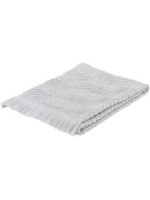 Asciugamano con motivo a rilievo Jacqui, Grigio chiaro, Asciugamano per ospiti