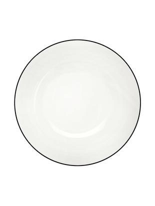 Talerz deserowy á table ligne noir, 4 szt., Porcelana chińska, Biały<br>Krawędź: czarny, Ø 21 cm