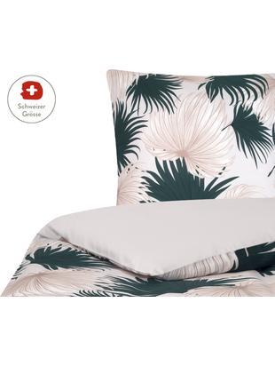 Baumwollsatin-Wendebettdeckenbezug Aloha, Webart: Satin, Vorderseite: Beige, Grün Rückseite: Beige, 160 x 210 cm