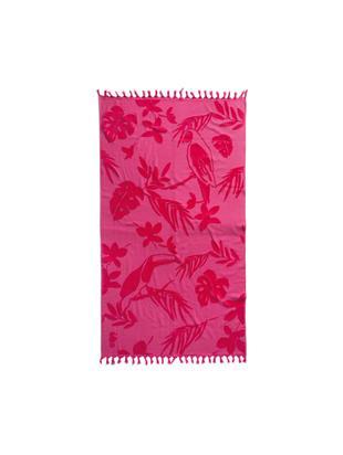 Telo fouta in cotone Tropical, Cotone, Fucsia, Larg. 100 x Lung. 180 cm