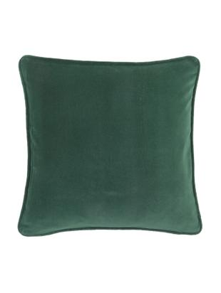 Einfarbige Samt-Kissenhülle Alyson in Smaragdgrün, Baumwollsamt, Smaragdgrün, 40 x 40 cm