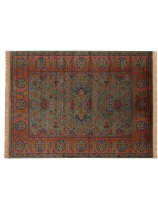 Vintage vloerkleed Bid met bloemmotief, Katoenmix, Groentinten, roodtinten, blauw, beige, B 170 x L 240 cm (maat M)