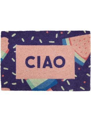 Fußmatte Ciao, Kokosfaser, Lila, Rosa, Blau, Grün, 40 x 60 cm