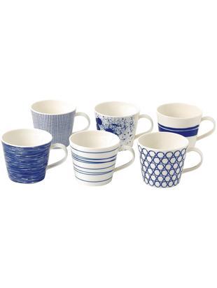 Tassen-Set Pacific, 6-tlg., Porzellan, Weiß, Pazifikblau, Ø 10 x H 9 cm
