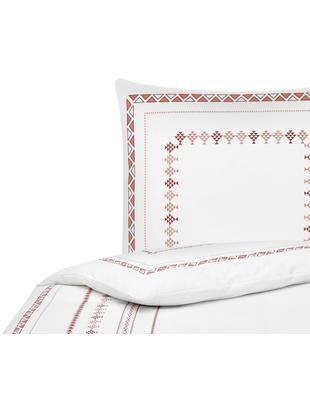 Pościel z perkalu boho Indira, Biały, terakota, 135 x 200 cm