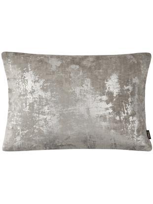 Federa arredo vintage in velluto Shiny, Retro: poliestere, Grigio, argento, scintillante, Larg. 40 x Lung. 60 cm