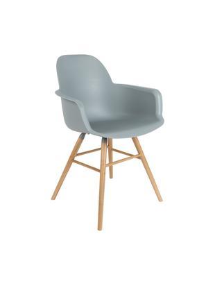 Armlehnstuhl Albert Kuip, Sitzfläche: 100% Polypropylen, Füße: Eschenholz, Sitzfläche: Grau-Blau<br>Füße: Eschenholz, 59 x 82 cm