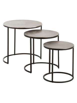 Beistelltisch 3er-Set Scott mit silberner Platte, Tischplatte: Aluminium, beschichtet, Gestell: Metall, lackiert, Silber, Schwarz, Sondergrößen