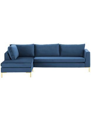 Samt-Ecksofa Luna, Bezug: Samt (Polyester) 80.000 S, Gestell: Massives Buchenholz, Samt Blau, Gold, B 280 x T 184 cm