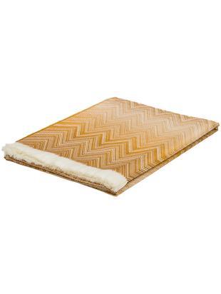 Wollen plaid Timmy, Wol, Plaid: crèmekleurig, oranje, bruin. Franjes: crèmekleurig, 130 x 190 cm