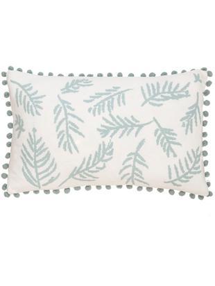 Poszewka na poduszkę z pomponami Jungle, 100% bawełna, Biały, niebieski, S 30 x D 50 cm