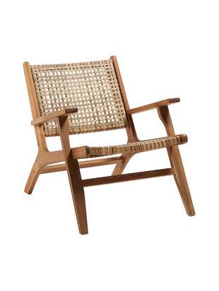 Poltrona lounge Grignoon con treccia in rattan, Struttura: legno d'acacia massiccio, Legno d'acacia, beige, Larg. 68 x Prof. 80 cm