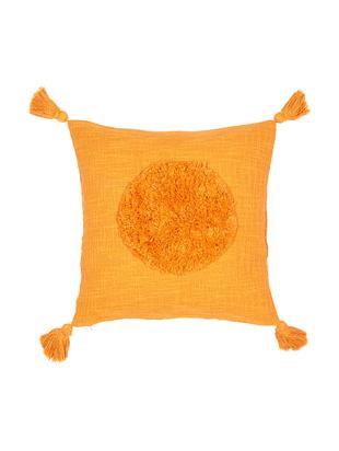 Federa arredo in cotone organico con nappe Sun, Cotone biologico, Giallo, Larg. 45 x Lung. 45 cm