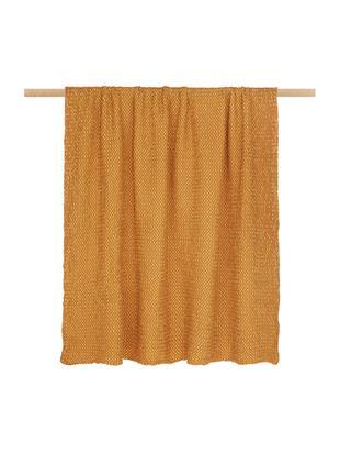 Manta de algodón Vigo, Algodón, Amarillo dorado, An 140 x L 200 cm