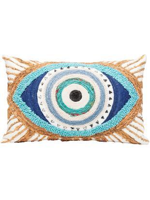 Haftowana poduszka z wypełnieniem Ethno Eye, Tapicerka: bawełna, Biały, beżowy, niebieski, S 35 x D 55 cm