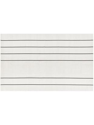 Flachgewebter Baumwollteppich David mit Linien, handgefertigt, Baumwolle, Cremeweiß, Schwarz, B 50 x L 80 cm (Größe XXS)