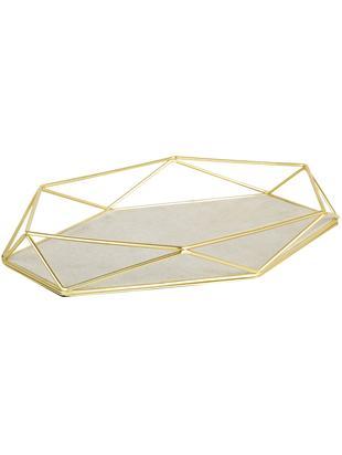 Decoratief dienblad Prisma, Frame: vermessingd staal, Messingkleurig, lichttaupe, 28 x 4 cm