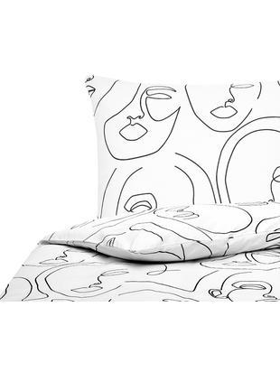 Perkal-Bettwäsche Aria mit abstrakter One Line Zeichnung, Webart: Perkal Fadendichte 180 TC, Weiss, Schwarz, 135 x 200 cm