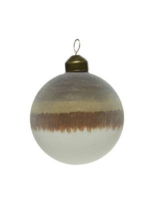 Weihnachtskugeln Organic, 2 Stück, Beige, Braun, Weiss, Ø 8 cm
