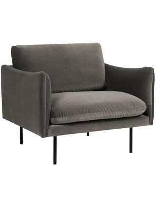Samt-Sessel Moby, Bezug: Samt (Hochwertiger Polyes, Gestell: Massives Kiefernholz, Füße: Metall, pulverbeschichtet, Samt Braungrau, B 90 x T 90 cm