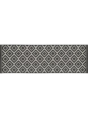 In- & outdoor loper Miami, Bovenzijde: polypropyleen, Onderzijde: polyester, Wit, zwart, 80 x 250 cm