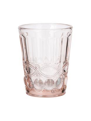 Wassergläser Solange mit dekorativem Reliefmuster, 6er-Set, Glas, Transparent, Rosa, 265 ml
