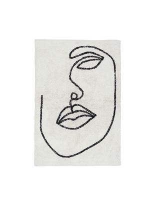 Tappeto in cotone con motivo astratto Visage, Cotone organico, Bianco latteo, nero, Larg. 90 x Lung. 120 cm (taglia S)