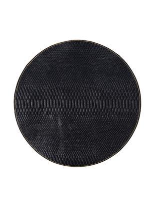 Okrągła podkładka Allie, 2szt., Sztuczna skóra, Czarny, odcienie złotego, Ø 38 cm