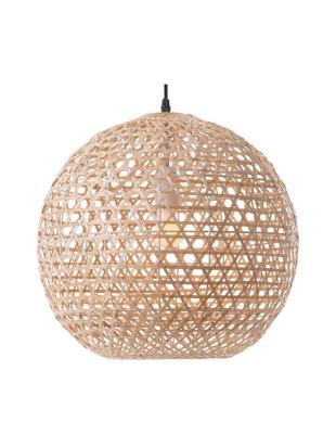 Lampada a sospensione Melody, Paralume: bambù, Baldacchino: materiale sintetico, Marrone chiaro, Ø 40 x Alt. 37 cm
