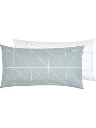 Renforcé-Wendekissenbezüge Marla mit grafischem Muster, 2 Stück, Webart: Renforcé, Grau, Weiß, 40 x 80 cm