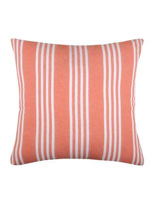 Poduszka z wypełnieniem Mandelieu, Mieszanka bawełny, Koralowy, biały, S 50 x D 50 cm