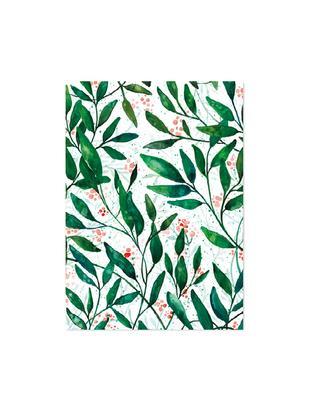 Papeles para regalos Green Leaves, 3uds., Papel, Verde, rojo, blanco, An 50 x Al 70 cm