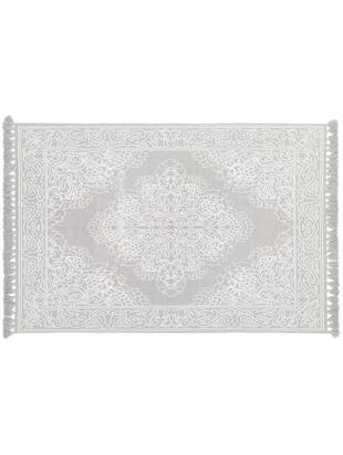 Ręcznie tkany dywan z bawełny z frędzlami Salima, Bawełna, Jasny szary, kremowy, S 50 x D 80 cm